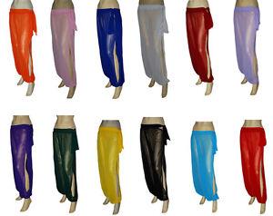 Genie Costume Sheer Chiffon Harem Yoga Pants with Side Slit Halloween Free Ship