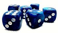 5 RPG Würfel Spiel Kniffel Yahtzee Knobeln  W6 16mm blau Pasch DSA dice4friends