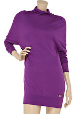 RRP $380 HALSTON HERITAGE CUTOUT BACK SILK CASHMERE SWEATER DRESS TOP M