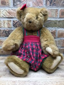 Vintage Vermont Teddy Red Plaid Dress w/ Stand - Rotating Arms & Legs - Jointed