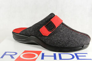 Rohde Ladies Slippers House Shoes Soft Felt Grey/Red 2315 New