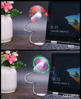 LED USB COOLING Mini FAN Flash Light for COMPUTER Laptop PC Desk Flexible Travel