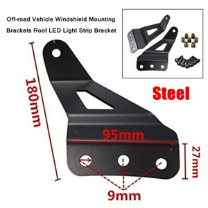 2X Off-road Car Windshield Mounting Brackets Roof LED Light Strip Holder Bracket