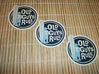3 OLD GUYS RULE SURFER DUDE LONGBOARD SURFBOARD FIN SURF SURFING  BEACH STICKERS