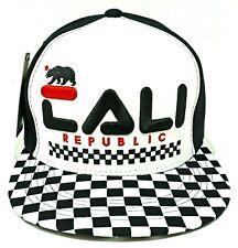 California Republic Snapback Cap Hat Ca Cali Bear White Black Checker Osfm Nwt