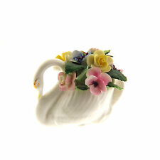 Vintage Royal Adderley Floral Bone China Swan Statue Figurine Made in England