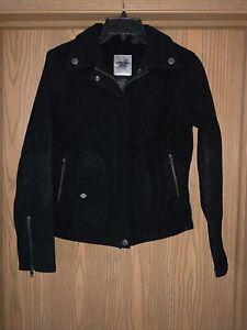 WOMEN'S HARLEY DAVIDSON EMBROIDERED LOGO SUEDE RAYON RIDING JACKET S !! NEW !!