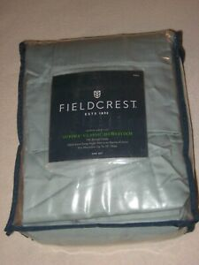 Fieldcrest Full Sheet Set 100% Cotton Sateen Supima Classic Hemstitch 700TC Aqua