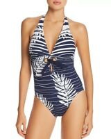 Amoressa 166978 Womens Striped Floral Halter One-Piece Swimsuit New Moon Size 14