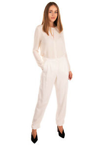 RRP €405 EMPORIO ARMANI Crepe Tailored Trousers Size 40 / S Stretch Pleated