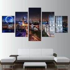 London Night View Cityscape 5 pcs HD Printed Art Wall Home Decor Canvas Print