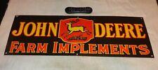 "Vintage John Deere Farm Implements 36"" X 12"" Porcelain Metal Gasoline & Oil Sign"