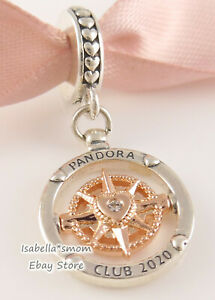 Authentic PANDORA CLUB 2020 Rose GOLD Plated COMPASS Dangle Charm 788590C01