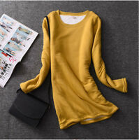 Women Ladies Fleece Lined Fit Slim Shirt Blouse Thick Warm Stretch Top Winter