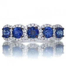 1.00 Ct Sapphire anniversary Ring Five halo diamond wedding band 14K White Gold