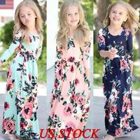 Kids Girls Long Sleeve Boho Floral Maxi Dress Holiday Party Princess Dresses