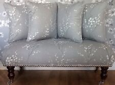 Long Footstool Stool & 4 Cushions Laura Ashley Pussy Willow Steel Fabric