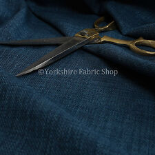 New Linen Effect Soft Lightweigh Upholstery Chenille Interior Fabric Navy Blue