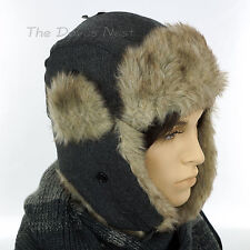 URBAN PIPELINE Men's HERRINGBONE GRAY TRAPPER HAT Beige Faux Fur WINTER CAP