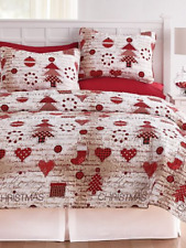 3 Pc King Size Red White Gold Vintage Christmas Holiday Quilt & Shams Set Nip