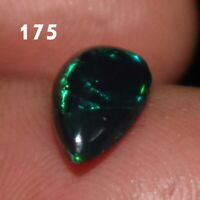 TCW 1.00 6x11 mm  NATURAL ETHIOPIAN WELO FIRE OPAL BLACK PEAR CABOCHON 175