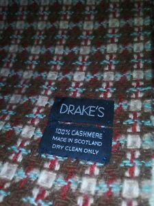 """DRAKES GENTLEMAN'S 100% CASHMERE SCARF MADE IN SCOTLAND (12"""" X 64"""" ) NWOT"""