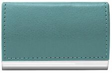 Wellspring Signature Series Faux Leather Business Card Case Blue Slate #2490