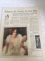 1926 art Deco Woman Print Ad Pompeian Beauty Powder Gown Lady Antique Mirror