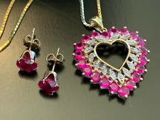 "Heart shaped Lab Ruby Diamond 14k gold Set 20"" Necklace Earrings Pendant 6.89g"