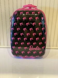 """Barbie Travel  Luggage Girls Size 18"""" Hard Shell  Black and Pink Wheels Rolling"""