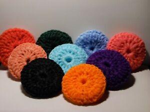 """Crochet Dish/Pot Scrubbies 3 1/2"""" Dia Machine Washable Double Thick 9 Colors"""
