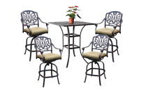 "5pc patio bar set cast aluminum furniture 36"" square table 4 swivel bar stools"