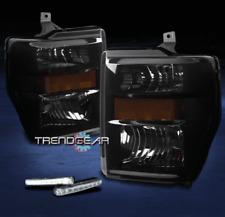2008-2010 FORD F250 F350 SUPER DUTY HEADLIGHTS LAMP BLACK/SMOKE W/DRL LED SIGNAL