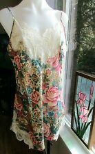 Vtg 80s Victoria Secret L Silky Rose Floral Chemise Slip Nightie Nightgown Lace