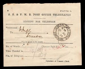 1934 SS & FMS Post Office Telegraphs receipt with Singapore GPO d/r postmark