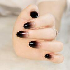 24x Gradient Black Short False Nails Round Head Full Cover Tips Nail Art Acrylic