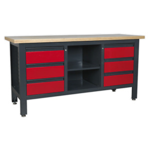 Sealey AP1905D Workstation with 6 Drawers & Open Storage SWS21