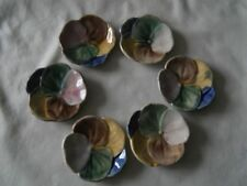 6 Majolica Pansy Butter Pats