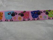 "Bty 7/8"" Pink Sheep Grosgrain Ribbon"