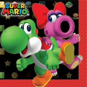 Super Mario Napkins/Serviettes - 16pk Super Mario Party Supplies (Beverage Size)