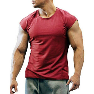 Mens Casual Sport T-Shirt Gym Casual Muscle Fitness Cap Sleeve Vest Tee Tops Hot