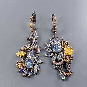 Wholesale jewelry Art Blue Topaz Earrings Silver 925 Sterling   /E58143