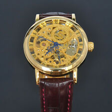 1SOKI Gold Analog Hand Winding Mens Mechanical Wrist Brown Leather Band Watch