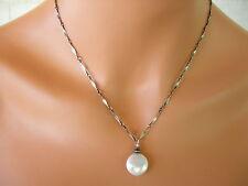 U&C Sundance White Pearl Large Coin & Diamond Cut Chain .925 Silver New Necklace