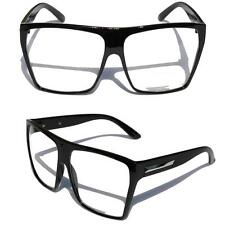 Big Oversized Gloss Black Super Nerdy Square Sun Glasses Trapezoid Silver
