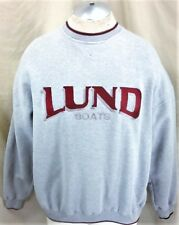 Kudzu Retro Lund Fishing Boats (Large) Crew Neck Graphic Long Sleeve Sweatshirt