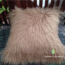 40 x 40CM GENUINE REAL MONGOLIAN SHEEPSKIN LAMB WOOL FUR CUSHION COVER - MOCHA