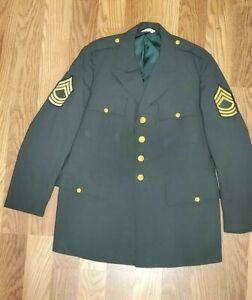 US Army Enlisted Mens Class A Green Dress Uniform Coat Tropical AG 344 Size 46 L