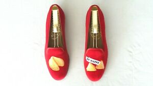 """SO CUTE! Women's $500 Stubbs & Wootton """"FORTUNE COOKIE"""" Slippers Loafers Shoes 7"""