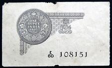 ★Rs.1 British India George V King Emperor★Sign:J.W.Kelly ★ Prefix:E60★Year:1935★